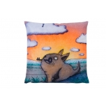 Decorative, accent & throw pillow:  The key to the heaven is held by a dog